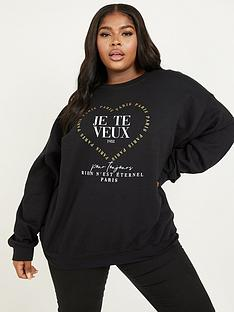 quiz-curve-je-te-veux-metallic-logo-sweat-top-black