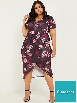 quiz-curve-floral-midi-wrap-dress-berry