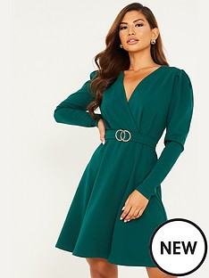 quiz-gold-buckle-skater-dress-green