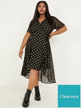 quiz-curve-quiz-curve-gold-spot-black-base-chiffon-wrap-midi-dress