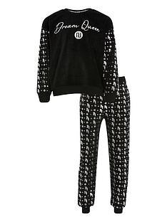 river-island-girls-velour-foil-pyjamas-black