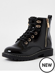 river-island-girls-patent-chunky-lace-up-boot-black