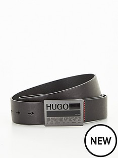 hugo-gary-logo-plaque-leather-beltnbsp--blacknbsp