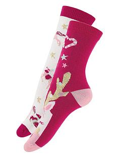monsoon-girls-2-pack-festive-reinicorn-socks-red
