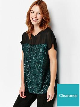 wallis-sequin-t-shirt-green