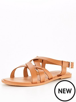 v-by-very-leather-strappy-flat-sandal-tan