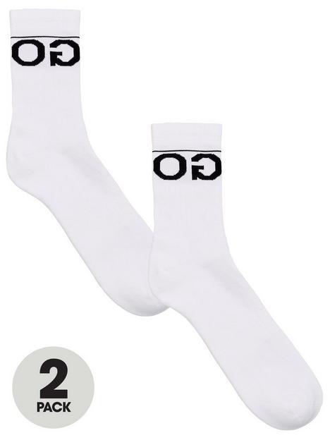 hugo-bodywear-2-pack-logo-sports-socks-white