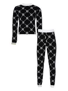 river-island-girls-monogram-knitted-jumper-and-leggings-set--nbspblack