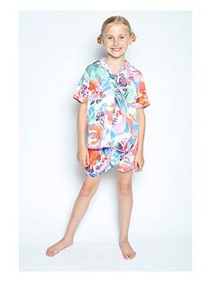 minijammies-girls-aimee-watercolour-floral-print-shorty-pyjama-set-multi
