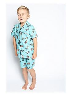 minijammies-boys-lucas-motorbike-print-shorty-pyjama-set-blue
