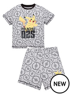 pokemon-boysnbspall-over-print-pikachu-shorty-pjs-grey