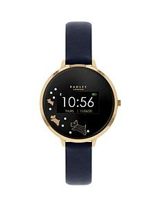radley-series-3-smart-watch-with-gold-dog-print-screen-and-navy-strap-ladies-watch