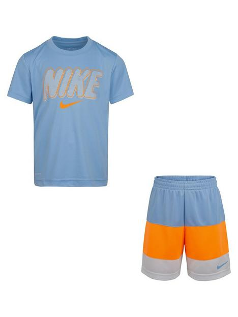 nike-younger-boy-dri-fitnbspshort-sleeved-t-shirt-amp-blocked-short-set-blueorangegrey