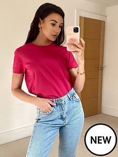 michelle-keegan-short-sleeve-cotton-tee-raspberry