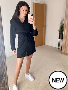 michelle-keegan-utility-waisted-shirt-dress-black