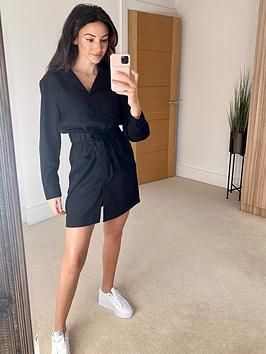 michelle-keegan-utility-waisted-shirt-dress-black