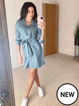 michelle-keegan-utility-waisted-shirt-dress-blue