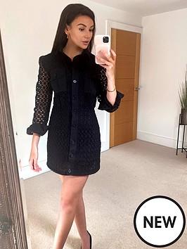 michelle-keegan-broderie-shirt-mini-dress-black