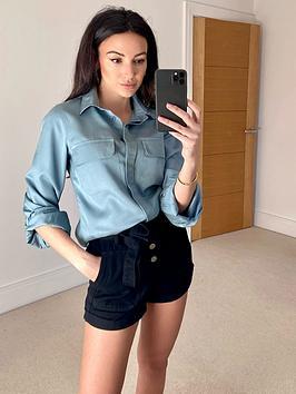 michelle-keegan-utility-casual-shirt-blue