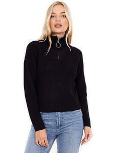 brave-soul-zip-funnel-neck-jumper-black