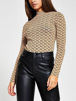 river-island-monogram-knitted-top-camel