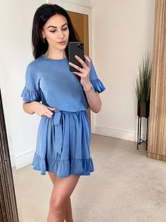 michelle-keegan-cupro-jersey-dress-blue