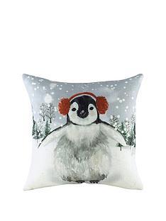 riva-home-snowy-penguin-with-earmuffs-christmas-cushion