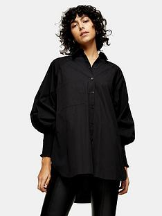 topshop-shirred-cuff-oversized-shirt-black