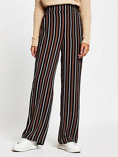 river-island-stripe-wide-leg-trouser-brown