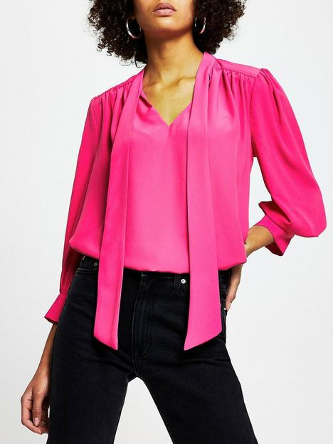 river-island-shoulder-pad-pussybow-blouse-bright-pink