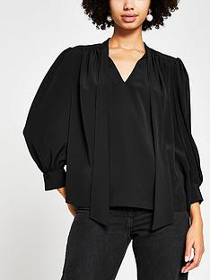 river-island-satin-pussybow-blouse-black