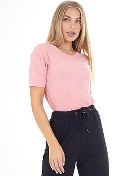 brave-soul-ribbed-short-sleeve-t-shirt-rose