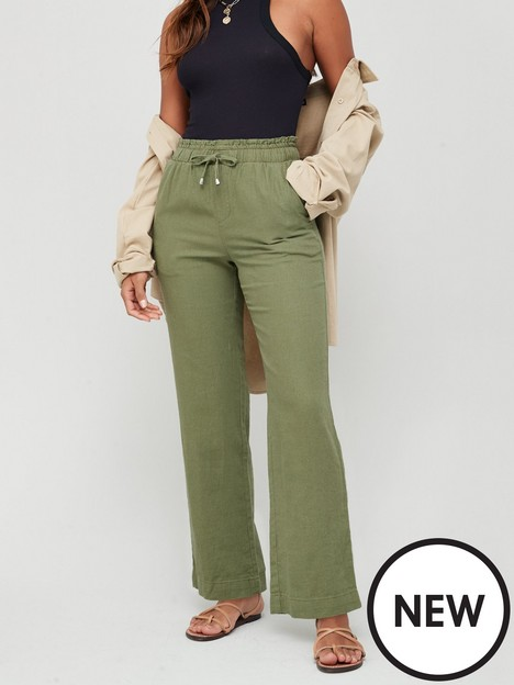 v-by-very-linen-mix-trouser-khaki