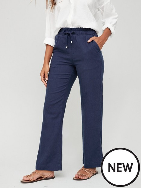 v-by-very-linen-mix-trouser-navy