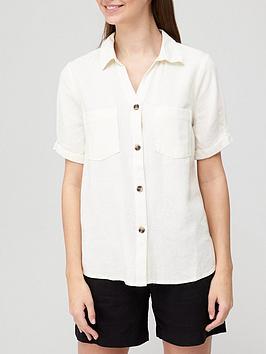 v-by-very-short-sleevenbsplinen-mix-casual-shirt-ecru