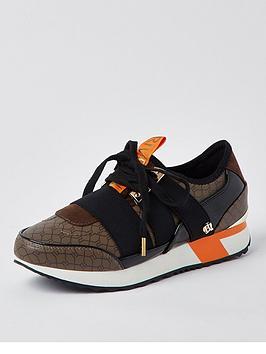 river-island-monogram-elasticated-strap-runner-brown