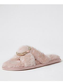 river-island-ring-detail-crossover-fluffy-slipper-pink