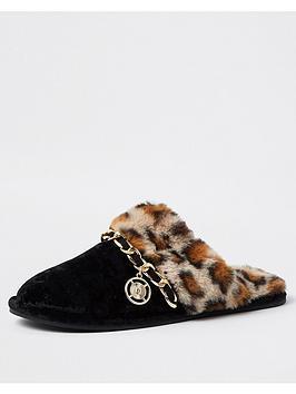 river-island-leopard-faux-fur-mule-slipper-black