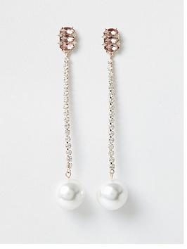 river-island-pearl-drop-diamante-earring-rose-gold