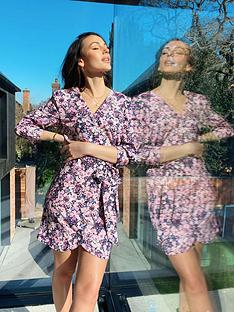 michelle-keegan-printed-shirt-mini-dress-pink-floral