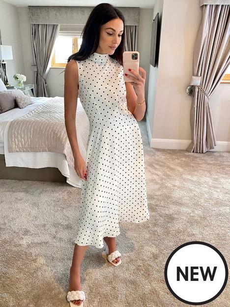 michelle-keegan-high-neck-spot-print-midi-dress-mono