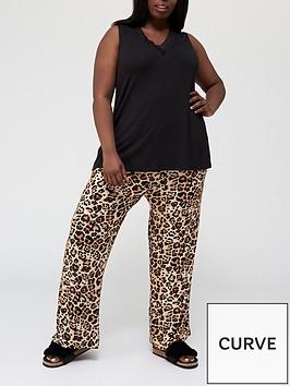 v-by-very-curve-lace-trim-cami-amp-trouser-set-blackprintnbsp