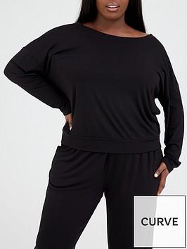 v-by-very-curve-off-the-shoulder-slouch-pj-set-black