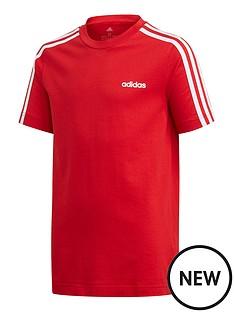 adidas-youth-boys-essentials-3-stripe-t-shirt-redwhite