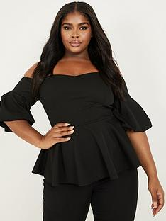 quiz-curve-black-puff-sleeve-bardot-top