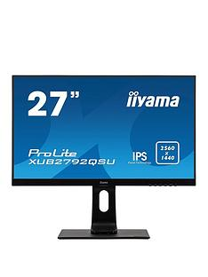 iiyama-prolite-xub2792qsu-b1-27-ips-2560x1440-freesync-ultra-slim-bezel-black-hdmi-display-port-usb-hub-height-adjustable