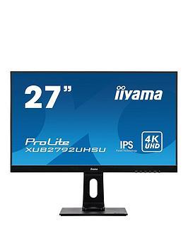 iiyama-prolite-xub2792uhsu-b1-27-4k-3840x2160-uhd-black-ultra-slim-bezel-hdmi-display-port-usb-hub-height-adjustable