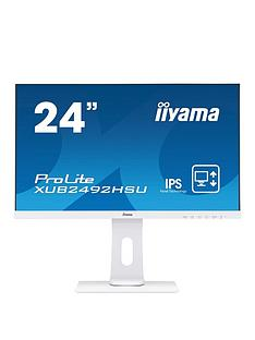 iiyama-prolite-xub2492hsu-w1-24-ips-full-hd-white-ultra-slim-bezel-hdmi-display-port-usb-hub-height-adjustable