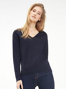 tommy-hilfiger-tommy-heritage-v-neck-knitted-jumper-navy