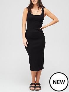 v-by-very-rib-racer-dress-black